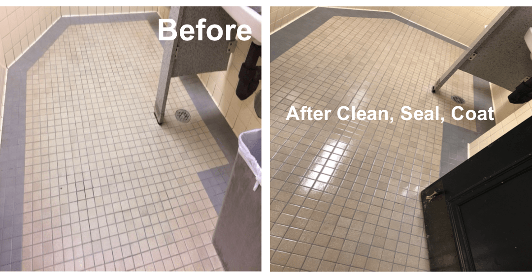 City Hall Bathroom Tile Clean and Coat Project